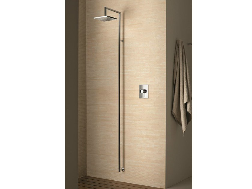 Wall-mounted shower panel with overhead shower Wall-mounted shower panel by Fantini Rubinetti