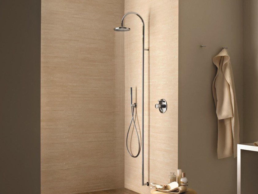 Wall-mounted shower panel with hand shower with overhead shower Wall-mounted shower panel by Fantini Rubinetti