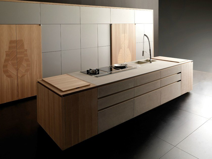 Cement kitchen with island WIND ETA BEIGE by TONCELLI CUCINE