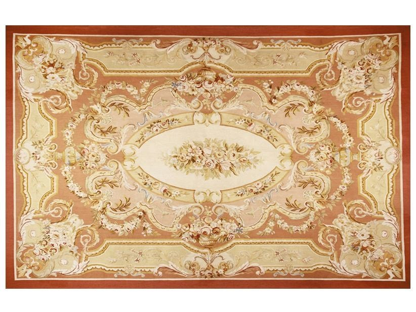 Patterned rectangular wool rug FREGATE SAUMON by EDITION BOUGAINVILLE