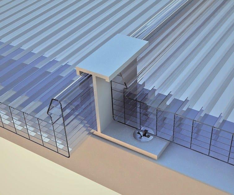 DETTAGLIO FISSAGGIO. Profili ancorati alle strutture di sostegno mediante piastrine in alluminio