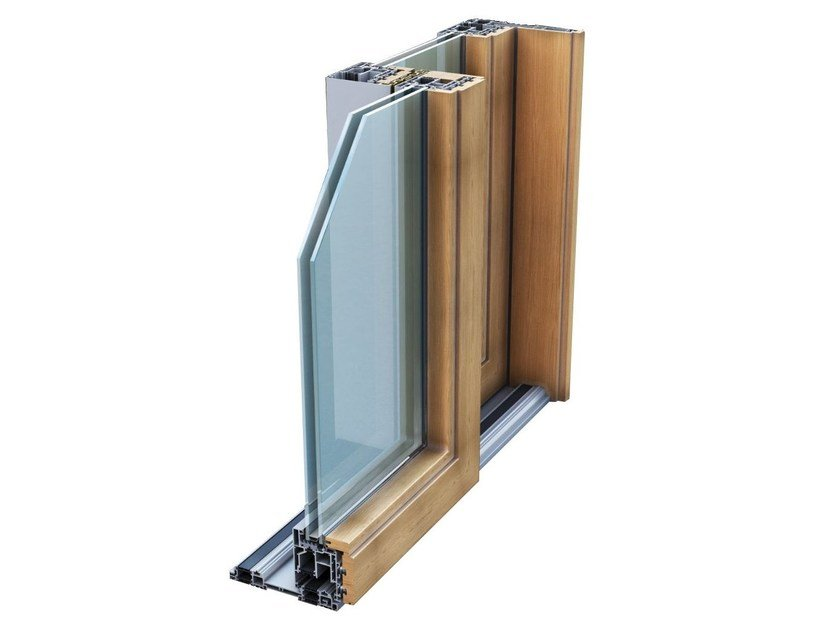 Aluminium and wood thermal break window TOP SLIDE WOOD 214 by ALsistem