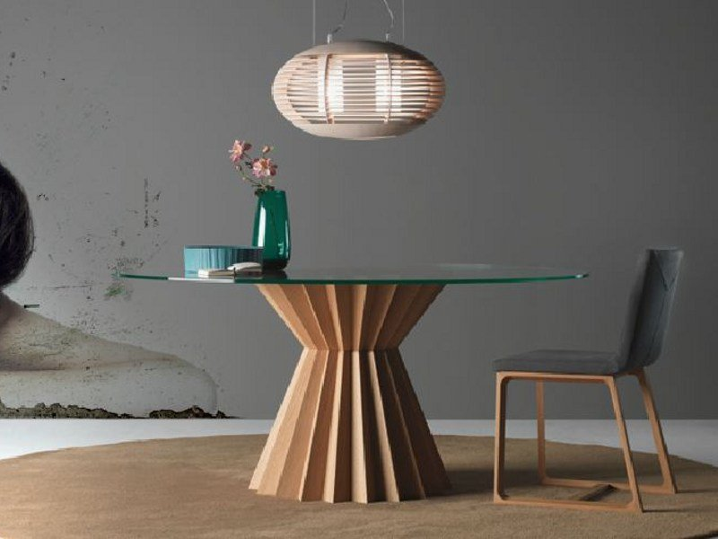 Round wooden dining table SUPERSTAR by LINFA DESIGN