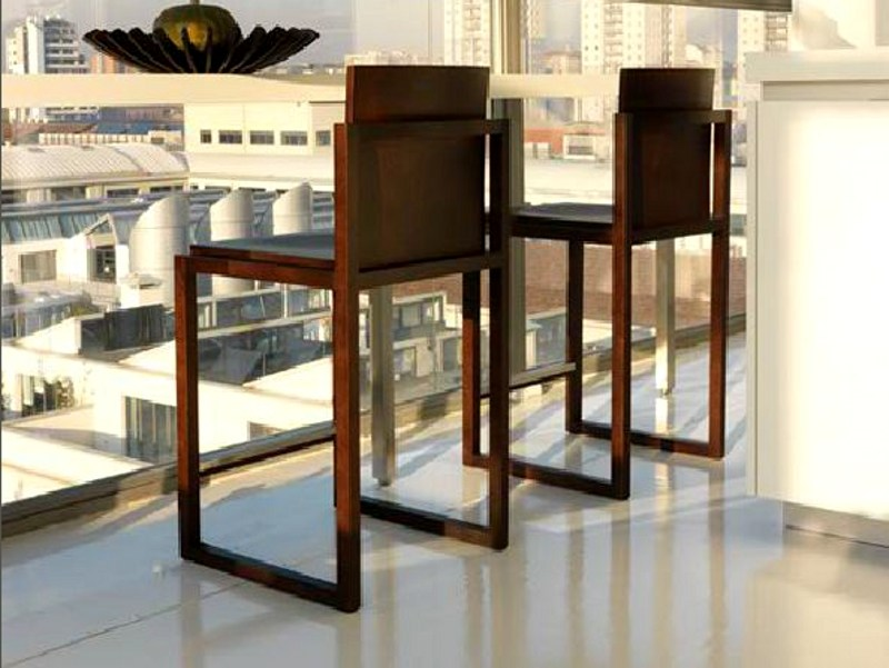 Sled base wooden stool with armrests KART | Sled base stool by LINFA DESIGN