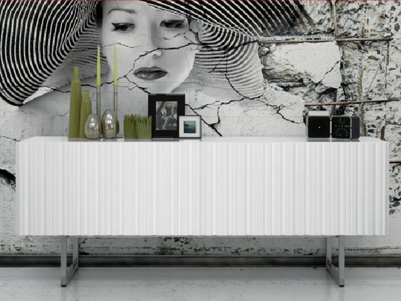 Wooden sideboard with doors INCISA by LINFA DESIGN