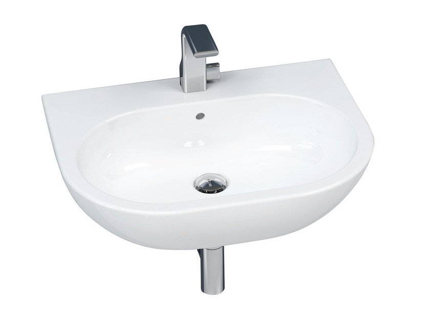 Countertop wall-mounted ceramic washbasin with overflow PASS 62 | Wall-mounted washbasin by CERAMICA FLAMINIA