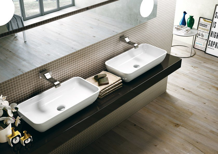 Contemporary style countertop rectangular ceramic washbasin PASS 60 | Countertop washbasin by CERAMICA FLAMINIA
