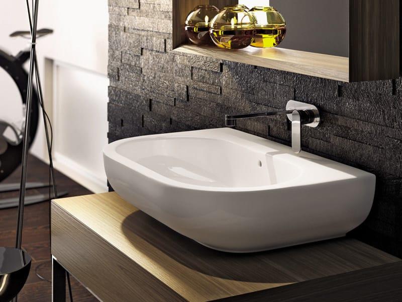 Countertop wall-mounted ceramic washbasin with overflow PASS 72 | Wall-mounted washbasin by CERAMICA FLAMINIA