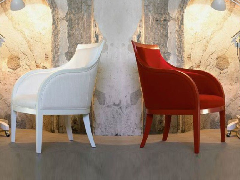Upholstered armchair with removable cover with armrests MI/AMI by Linfa Design
