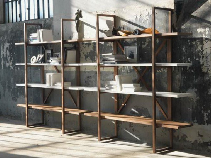 Open solid wood bookcase ASSIOMA by LINFA DESIGN