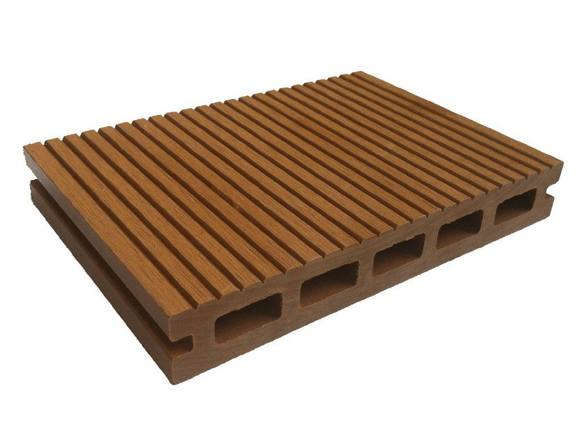 Engineered wood outdoor floor tiles / decking Hollow Profile Wood by NOVOWOOD