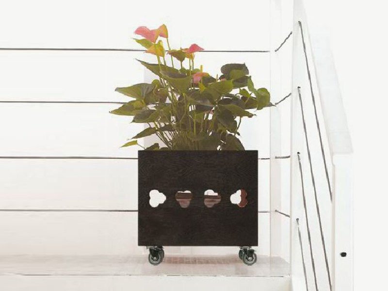 Low solid wood planter IRIS by Linfa Design