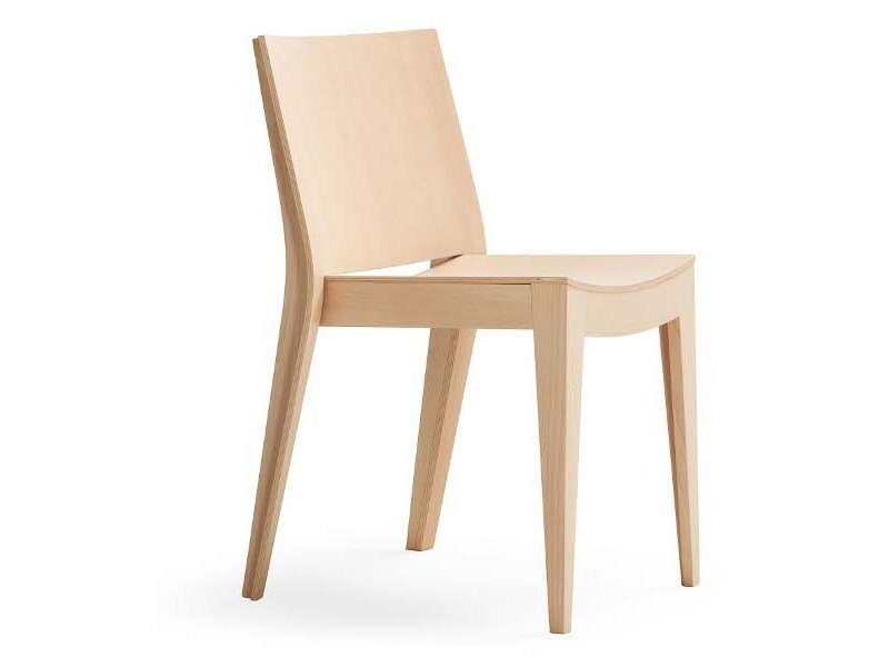 Stackable solid wood chair MISTRAL by Segis