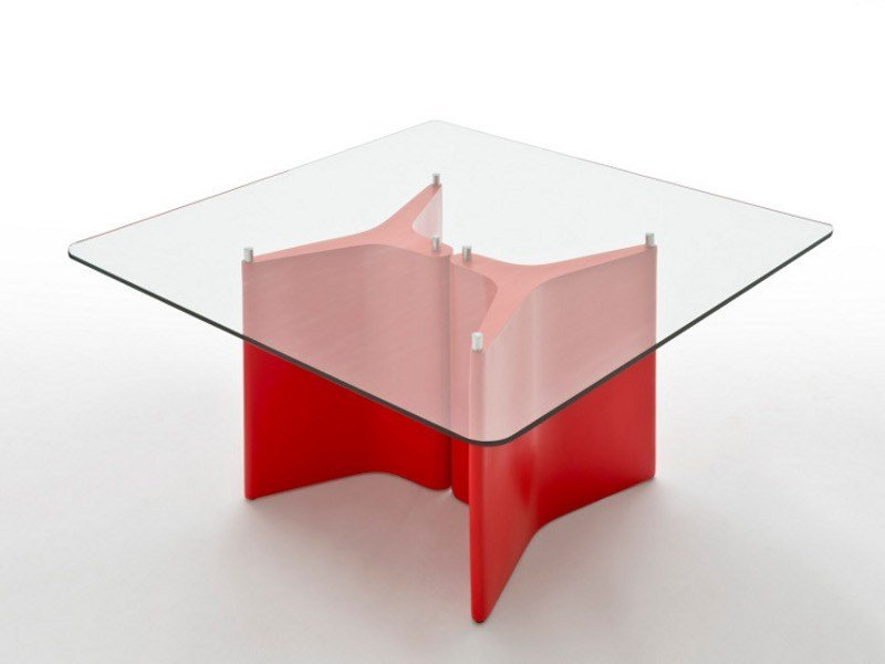 Square wood and glass table TEE   Square table by Segis