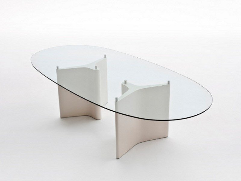 Oval wood and glass table TEE | Oval table by Segis