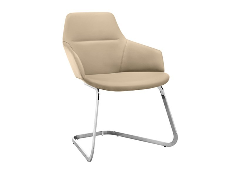 Cantilever upholstered chair with armrests ASTON | Cantilever chair by arper