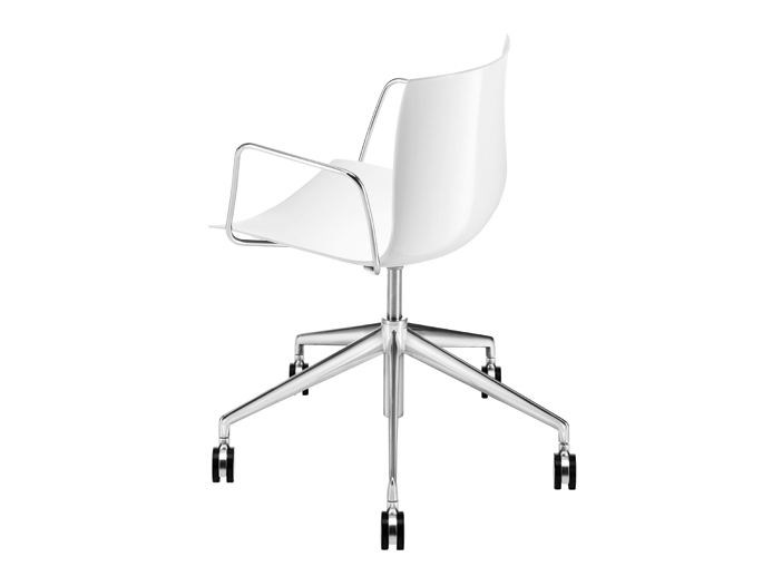 Chair with 5-spoke base with casters - CATIFA 46 - 5 razze girevole con braccioli