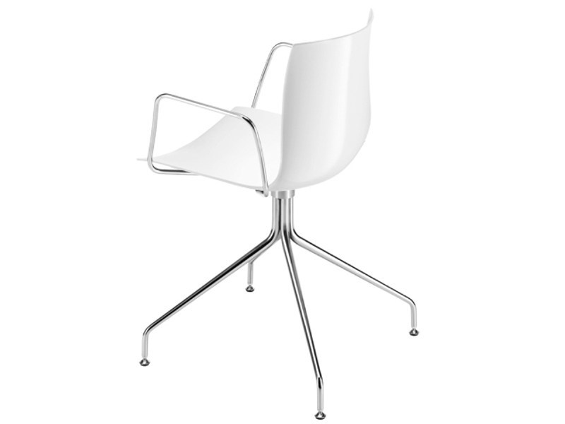 Swivel trestle-based chair with armrests CATIFA 46   Trestle-based chair by arper