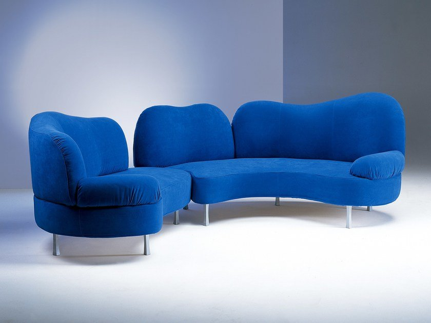 Sectional fabric sofa I GIROVAGHI by Giovannetti