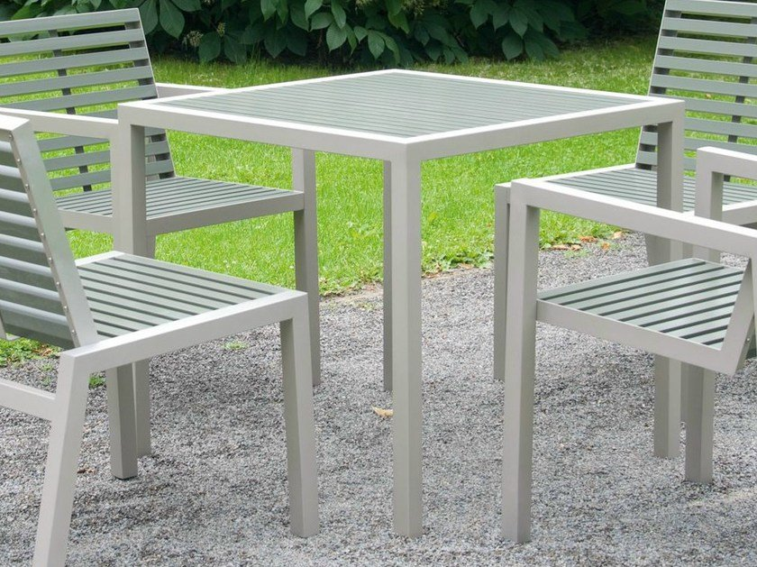 Square stainless steel and PET garden table COMFONY 10 | Square table by BENKERT BÄNKE
