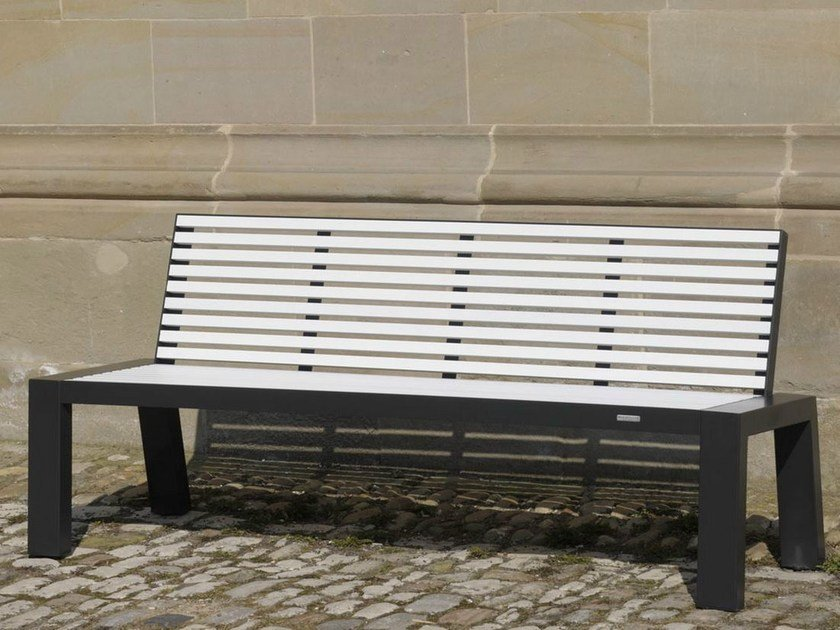 Stainless steel and PET Bench with back COMFONY 10 | Bench with back by BENKERT BÄNKE