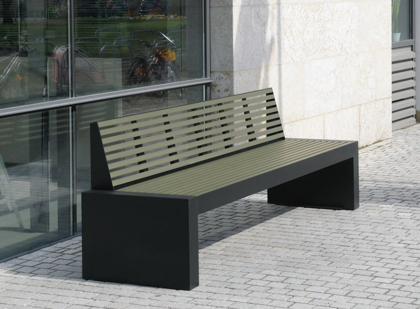 Stainless steel and PET Bench with back COMFONY 40 | Bench with back by BENKERT BÄNKE