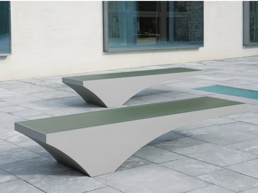 Backless stainless steel and PET Bench COMFONY 50 by BENKERT BÄNKE