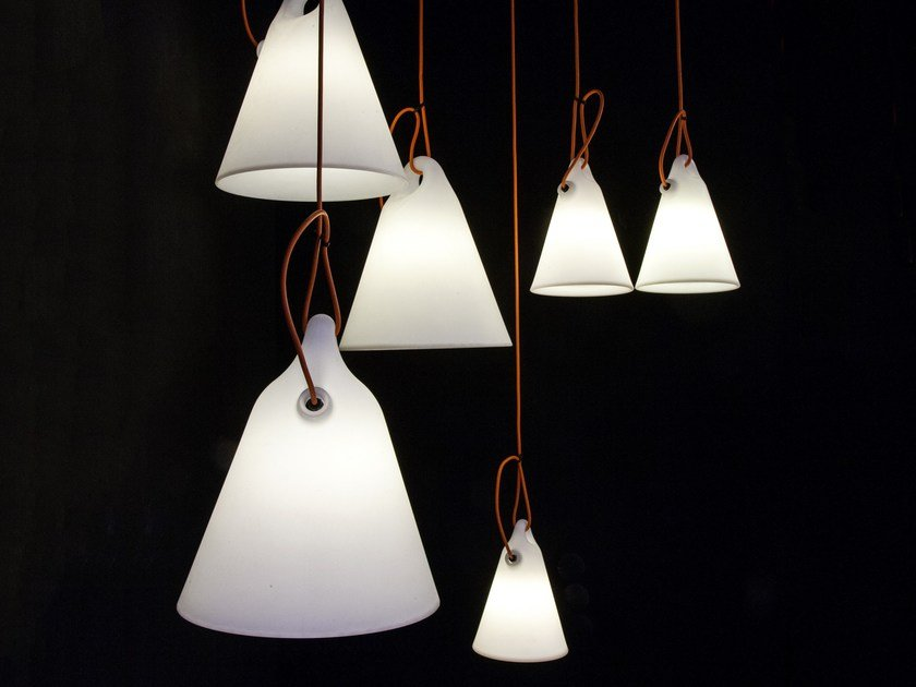 Fluorescent polyethylene pendant lamp TRILLY by Martinelli Luce