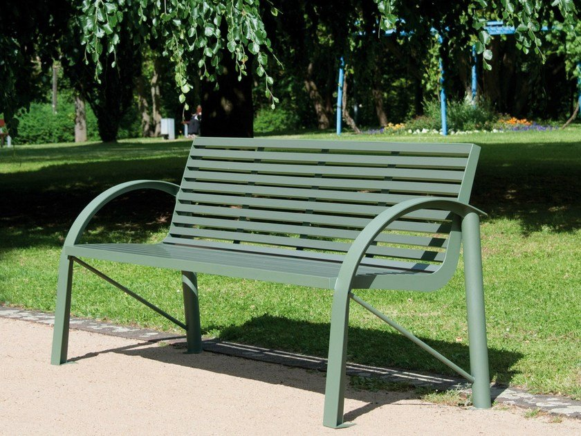 Stainless steel and PET Bench with armrests COMFONY 120 by BENKERT BANKE