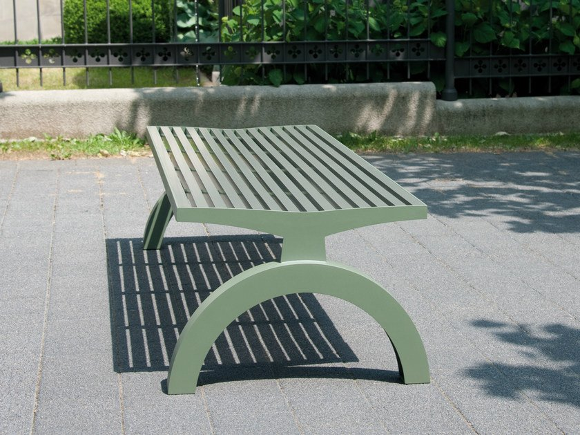 Backless stainless steel and PET Bench COMFONY 140 | Backless Bench by BENKERT BÄNKE