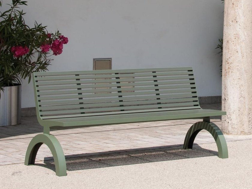 Stainless steel and PET Bench with back COMFONY 140   Bench by BENKERT BÄNKE
