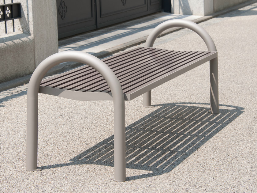 Backless stainless steel and PET Bench COMFONY 150 | Backless Bench by BENKERT BANKE