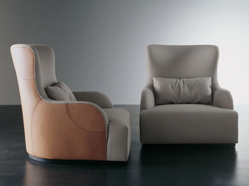 Bergere tanned leather armchair LIU KUOIO by Meridiani
