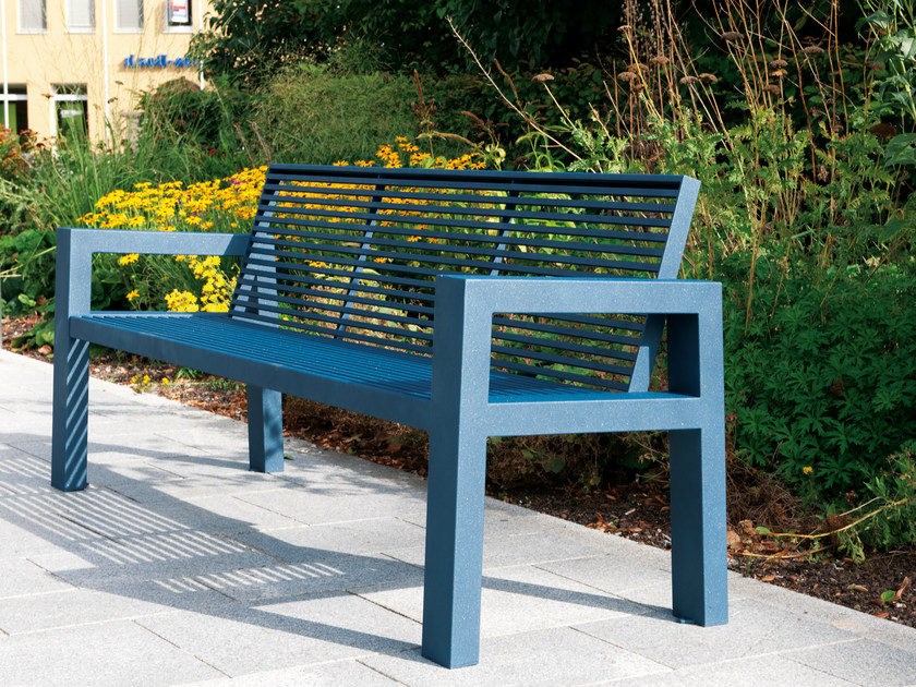 Stainless steel and PET Bench with armrests SICORUM M100 | Bench with armrests by BENKERT BANKE