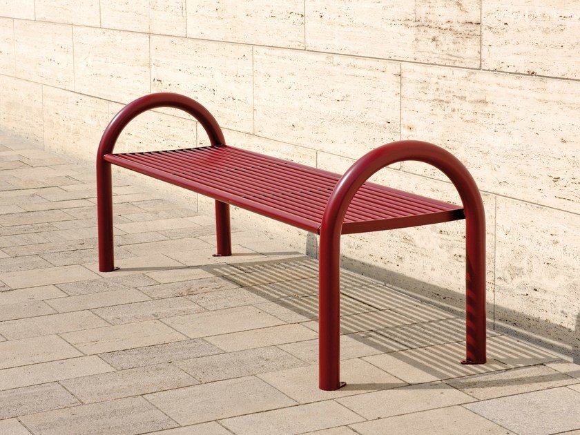 Stainless steel Bench with armrests SIARDO 150 R | Backless Bench by BENKERT BANKE