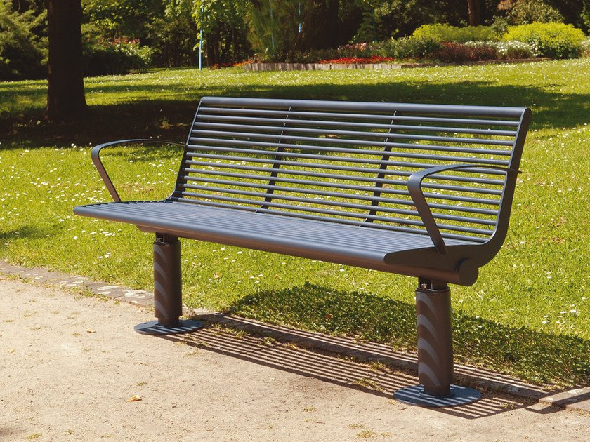 Stainless steel Bench with armrests SIARDO 400 R | Bench with armrests by BENKERT BÄNKE