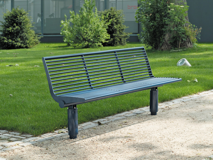 Stainless steel Bench with back SIARDO 400 R | Bench with back by BENKERT BÄNKE