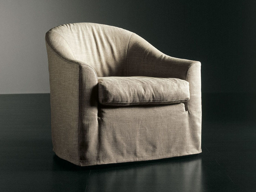 Upholstered armchair with removable cover LENNY | Armchair by Meridiani
