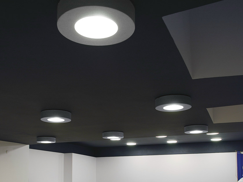 Direct light fluorescent ceiling lamp CORONA by Martinelli Luce