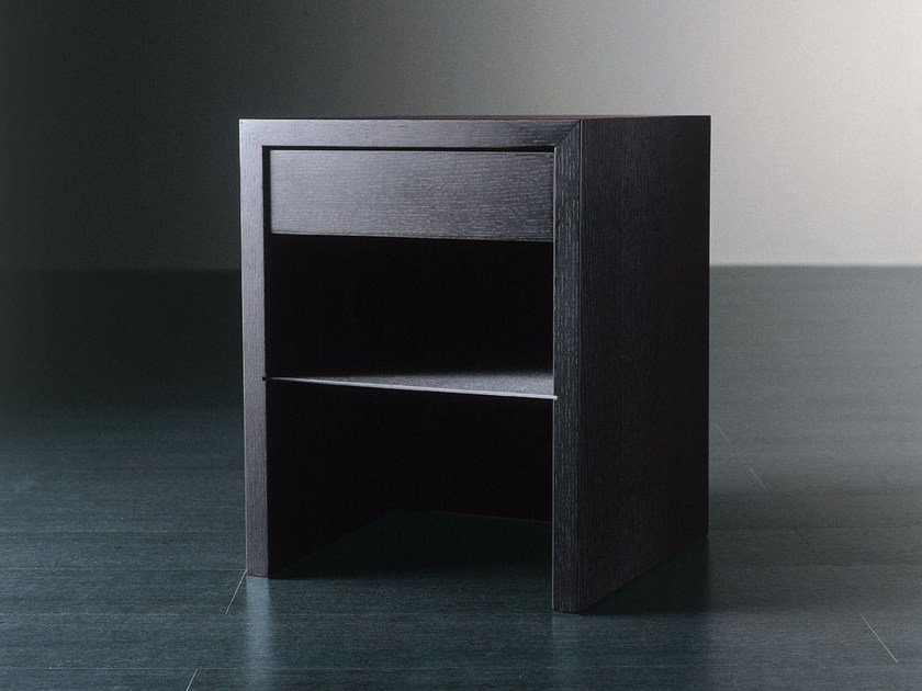 Wooden bedside table with drawers WINTER by Meridiani