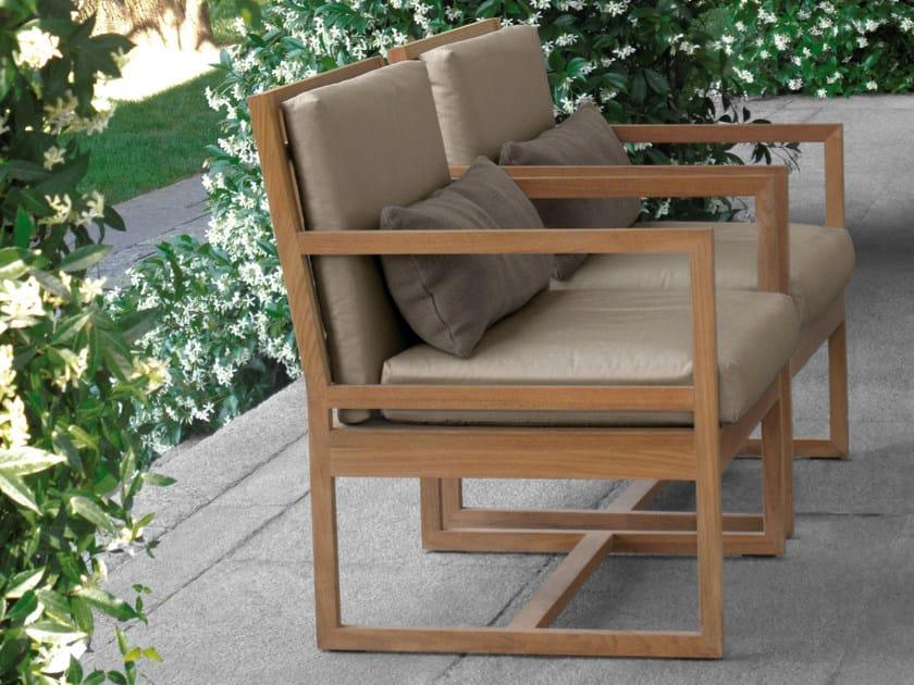 Sedia in teak con braccioli SQUARE | Sedia da giardino by Meridiani
