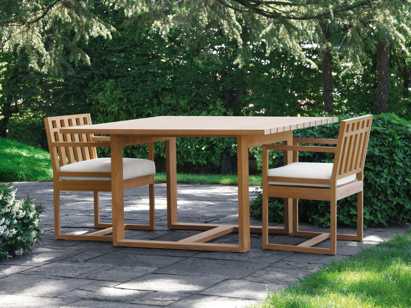 Square teak garden table SQUARE | Square garden table by Meridiani