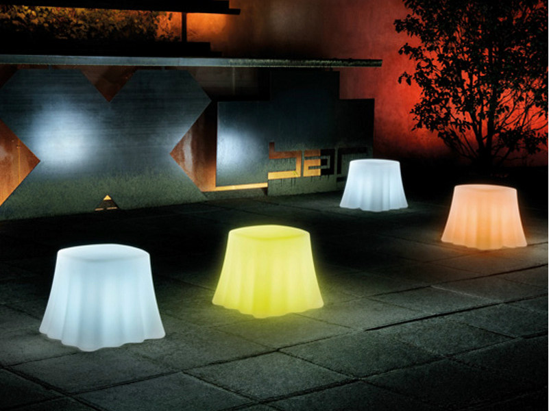 Design Low plastic garden side table with Built-In Lights CASPER LIGHT by DOMITALIA
