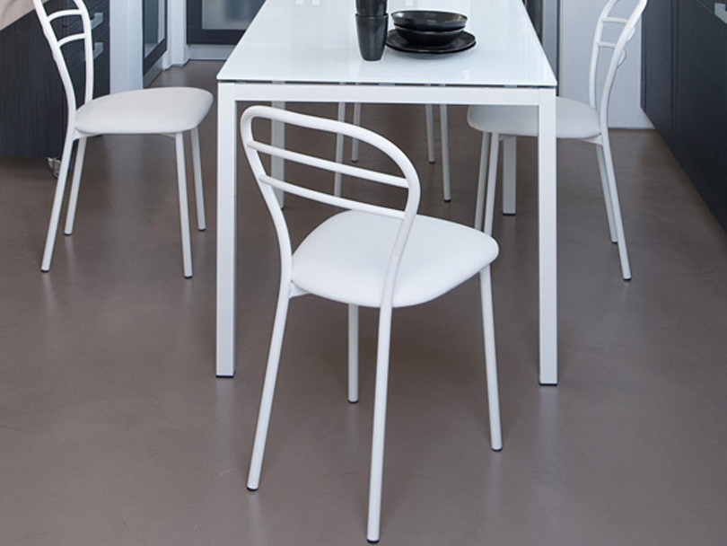Upholstered lacquered steel chair CONNIE by DOMITALIA