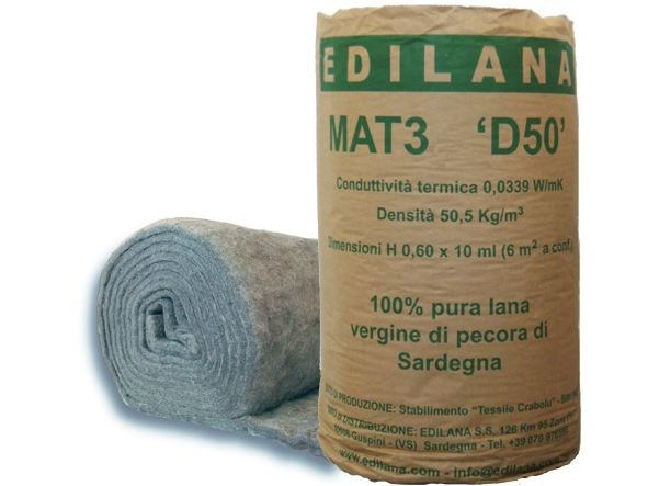 Natural insulating felt and panel for sustainable building EDILANA MAT3 D50 by EDILANA