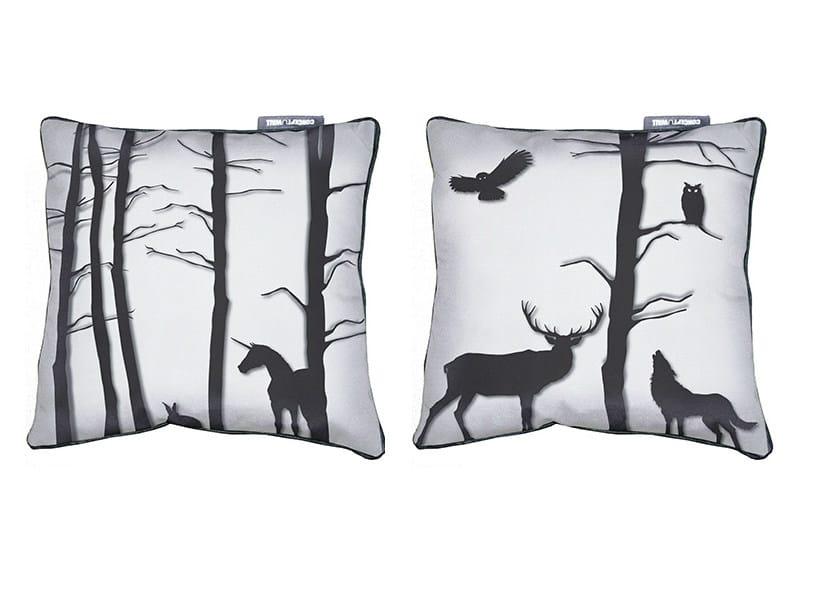 Square fabric cushion FÔRET ENCHANTÉE by CONCEPTUWALL