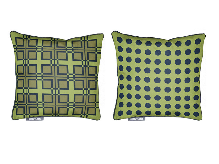 Square fabric cushion MOUCHARABIEH by CONCEPTUWALL