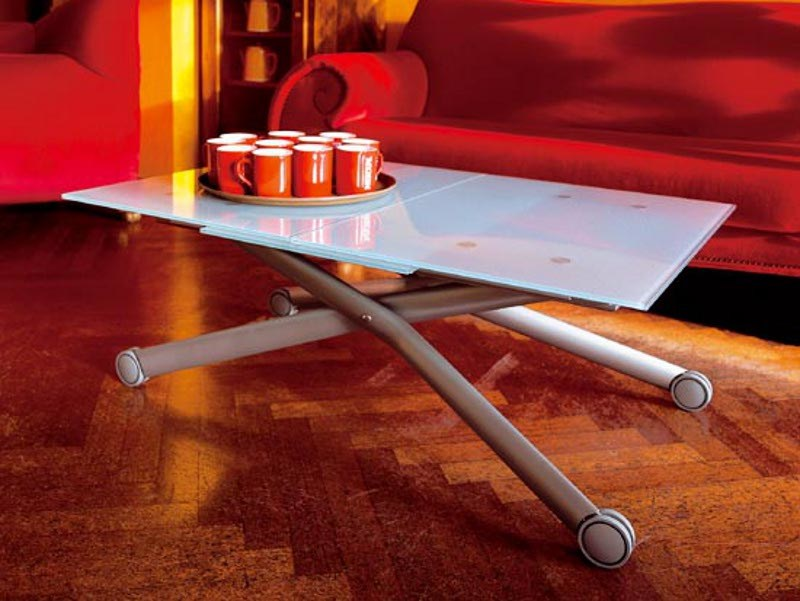 Height-adjustable glass coffee table with casters ESPRIT-V by DOMITALIA