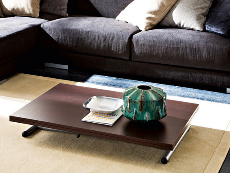 Height-adjustable low rectangular steel and wood coffee table SPRITE by DOMITALIA
