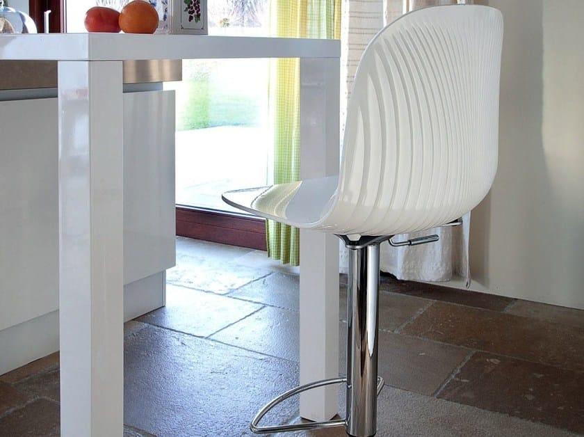 Height-adjustable high swivel steel stool PLAYA-P-SG by DOMITALIA